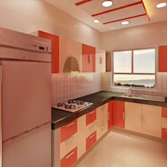3 Bedroom Independent Floor:  Built-in kitchens by Srijan Homes,Modern