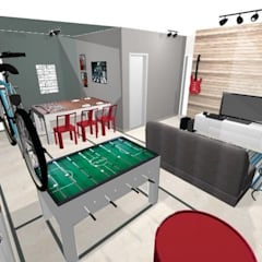 Antes e depois - salas integradas, jantar, estar e jogos em Americana. : Salas de estar  por PRISCILLA BORGES ARQUITETURA E INTERIORES