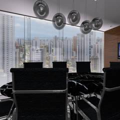Sala de reunião: Espaços comerciais  por Alyce Gama Interiores