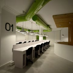 Second Floor Work Space:  Office buildings by CUBEArchitects