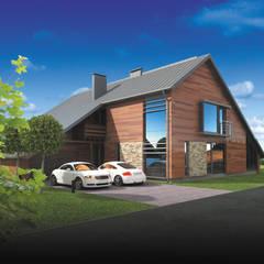 DOM JEDNORODZINNY DREWNIANY - PROJEKT: styl , w kategorii Dom z drewna zaprojektowany przez Plug Studio