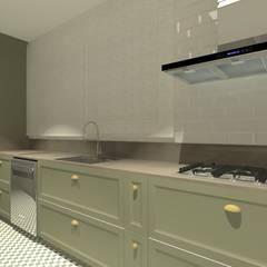 Apartamento Menta: Armários e bancadas de cozinha  por Quintal Arquitetura