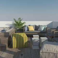 departamento muestra 2020: Terrazas de estilo  por LUCCA STUDIO INTERIORISMO