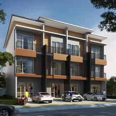 ออกแบบอาคารพาณิชย์ สูง 3 ชั้น:  อาคารสำนักงาน ร้านค้า by T.A.S.Design Co.,Ltd.