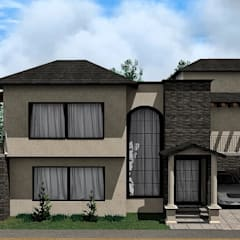 Render Residencia Hacienda San Antonio: Casas unifamiliares de estilo  por Arkisav