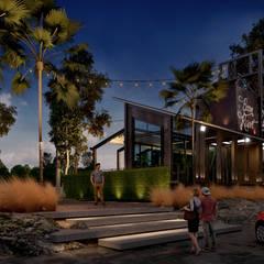 Boom Resort :  ห้องนั่งเล่น by ramรับออกแบบตกแต่งภายใน