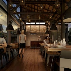 Boom Resort :  ห้องทานข้าว โดย ramรับออกแบบตกแต่งภายใน,