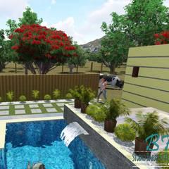 Chácara Barreto: Piscinas de jardim  por Studio Barreto Fernandes