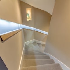 Modern Stair with Contemporary Recessed Handrail :  Corridor & hallway by Capital A Architecture