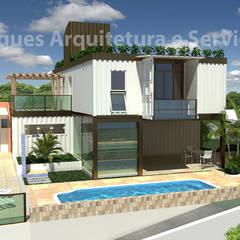 Casa Container-  Salvador Ba: Casas pré-fabricadas  por VParques Arquitetura e Serviços