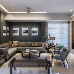 غرفة المعيشة تنفيذ Rakeshh Jeswaani Interior Architects
