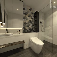 Studio Apartment, Sandalwood Springhill :  Kamar Mandi by Lines & Lumber