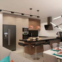 Интерьер 4-х комнатной квартиры на ул. Белинского «Дерево и мрамор»: Кухни в . Автор – Дизайн Студия 33