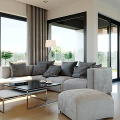 Projekt domu HomeKONCEPT-44: styl , w kategorii Salon zaprojektowany przez HomeKONCEPT | Projekty Domów Nowoczesnych