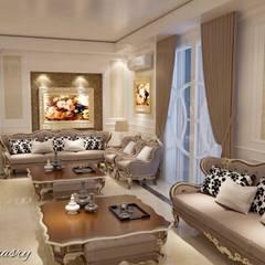 غرفة استقبال بفيلا:  غرفة المعيشة تنفيذ Taghred elmasry