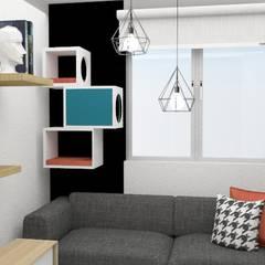 habitación versatil : Habitaciones de estilo  por Naromi  Design , Escandinavo Madera Acabado en madera