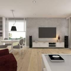 Wnętrze w stylu new york z nutką nowoczesności: styl , w kategorii Salon zaprojektowany przez SO INTERIORS ARCHITEKTURA WNĘTRZ