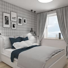 Wnętrze w stylu new york z nutką nowoczesności: styl , w kategorii Sypialnia zaprojektowany przez SO INTERIORS ARCHITEKTURA WNĘTRZ