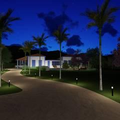 Paisagismo Fazenda E | M: Jardins de fachadas de casas  por monteirorachid arquitetas associadas