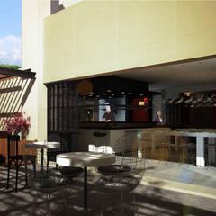 Detalle Comedor Privado - Patio: Jardines en la fachada de estilo  por Dsg Arquitectura