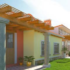 Fachada Posterior: Casas unifamiliares de estilo  por A11 Estudio | Arquitectura | Visualizacion | Construccion | Interiorismo
