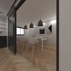 두공간을-- 한공간으로 인테리어 디자인: 디자인 이업의  주방,