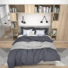 Sypialnia z miejscem na książki: styl , w kategorii Sypialnia zaprojektowany przez OES architekci