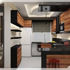 ห้องครัวขนาดเล็ก by PRATIKIZ MIMARLIK/ ARCHITECTURE
