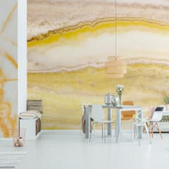 Yellow Stone Wall:  Dining room by Pixers