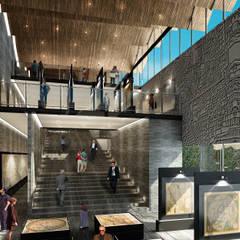 Vista Sala de Exhibiciones: Museos de estilo  por Fi Arquitectos