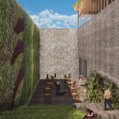 Vista de la Cafetería y Fuente: Museos de estilo  por Fi Arquitectos