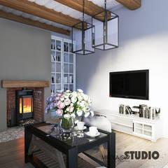 Dom w Grajowie : styl , w kategorii Salon zaprojektowany przez MIKOŁAJSKAstudio