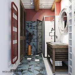 odważne kolory w wiejskiej łazience: styl , w kategorii Łazienka zaprojektowany przez MIKOŁAJSKAstudio