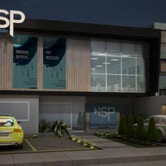 Vista Exterior Nocturna: Escuelas de estilo  por Soluciones Técnicas y de Arquitectura