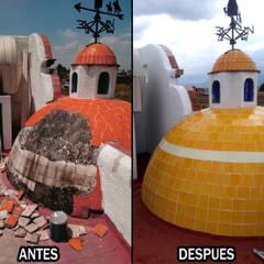 Restauración de Cúpula en casa centro de Metepec.: Casas unifamiliares de estilo  por Arkisav
