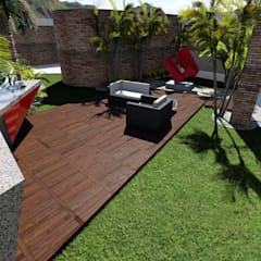Paisajismo Casa CUMBRES DE CURUMO: Terrazas de estilo  por Arquitectura Creativa