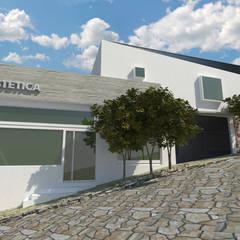FACHADA OESTE: Casas multifamiliares de estilo  por CREAT ARQUITECTURA