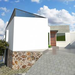 FACHADA SUR: Casas multifamiliares de estilo  por CREAT ARQUITECTURA