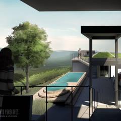 Vista da área para a Serra do Lajeado: Terraços  por Perelopes Arquitetura