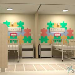 Projeto de interiores para Enfermarias da Clínica médica de um Hospital Infantil Hospitais ecléticos por Gigi Arruda Interiores/ Pallecor Eclético