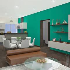 Sala - Comedor - Kichinet: Salas / recibidores de estilo  por Soluciones Técnicas y de Arquitectura