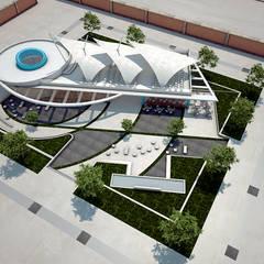 Vista Aérea Salon de usos Multiples- Tecsup Pre-Anteproyecto: Escuelas de estilo  por Soluciones Técnicas y de Arquitectura