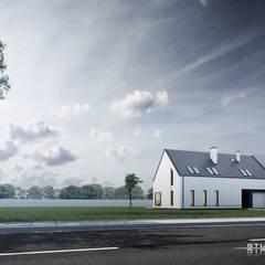 Dom nowoczesny B01 G1 StudioA&W: styl minimalistyczne, w kategorii Domy zaprojektowany przez  Architekt Łukasz Bulga Studio A&W Kraków | Projekty domów nowoczesnych