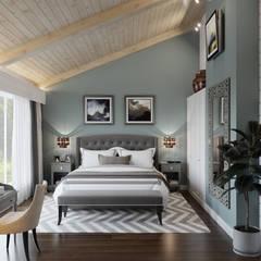 Дом из клееного бруса в Репино: Спальни в . Автор – Wide Design Group