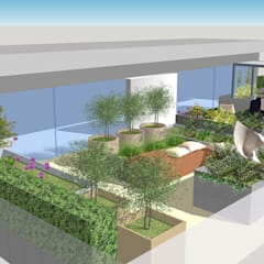 Fulham Reach, London :  Roof terrace by Aralia