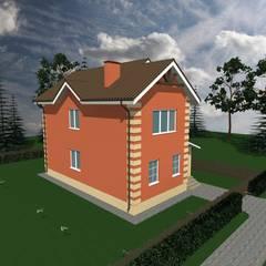 проект дома из керамзитобетонных блоков с облицовочным кирпичом. Общей площадью - 94 кв.м.: Галереи  в . Автор – Хотэй. Строительная компания