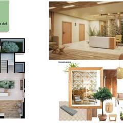 Lobby, Opal Suites: Estudios y oficinas de estilo topical por Andrea Loya