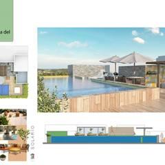 Solario, terraza: Terrazas de estilo  por Andrea Loya