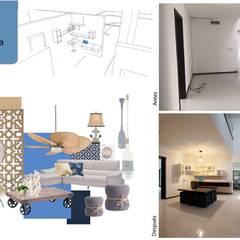 Entrada a la casa, family room: Pasillos y recibidores de estilo  por Andrea Loya