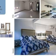 Habitación #2: Recámaras de estilo mediterraneo por Andrea Loya